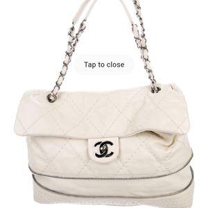 Chanel expandable ligne white vintage shoulder bag